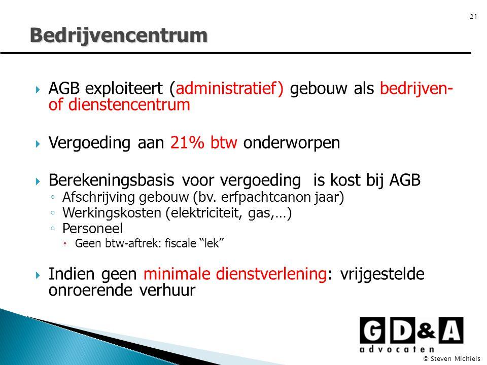 Bedrijvencentrum AGB exploiteert (administratief) gebouw als bedrijven- of dienstencentrum. Vergoeding aan 21% btw onderworpen.