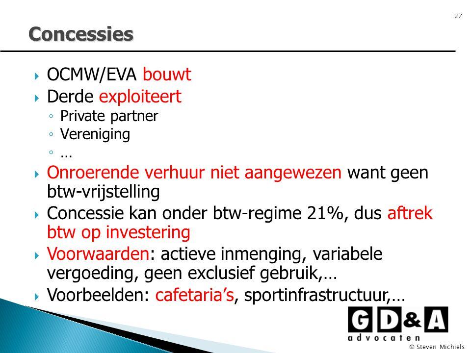 Concessies OCMW/EVA bouwt Derde exploiteert