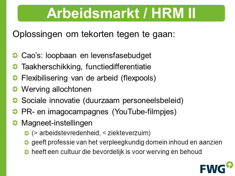 Arbeidsmarkt / HRM II Oplossingen om tekorten tegen te gaan: