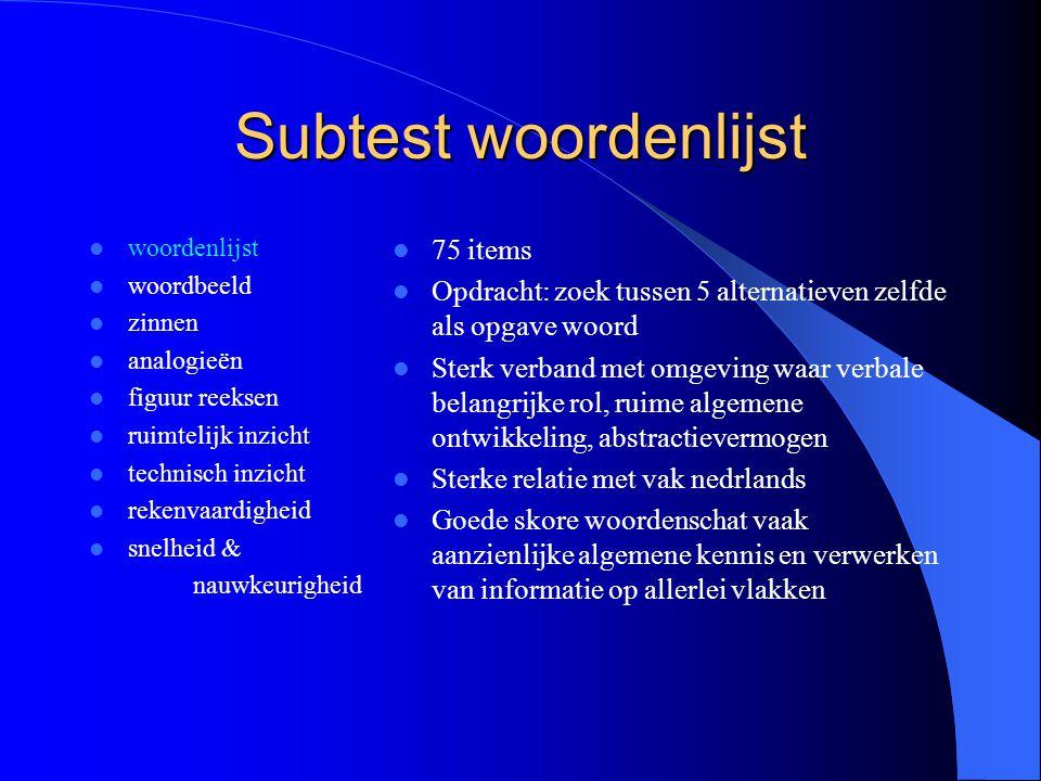 Subtest woordenlijst 75 items