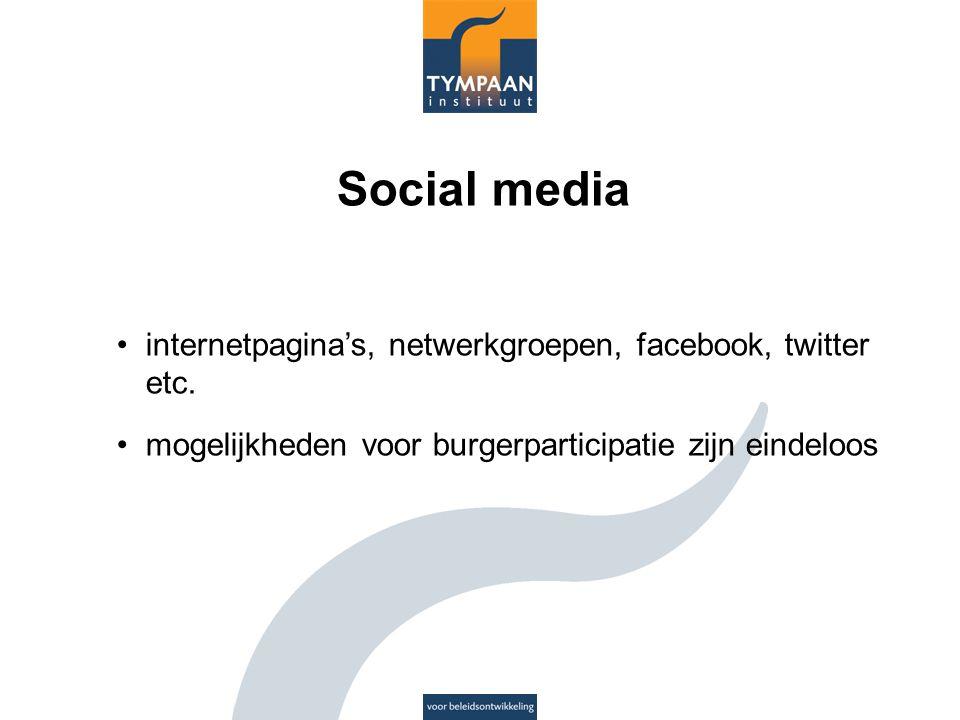 Social media internetpagina's, netwerkgroepen, facebook, twitter etc.