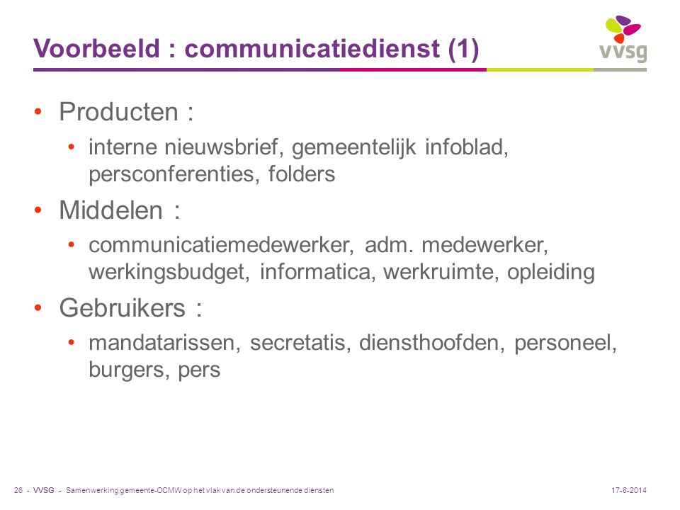 Voorbeeld : communicatiedienst (1)