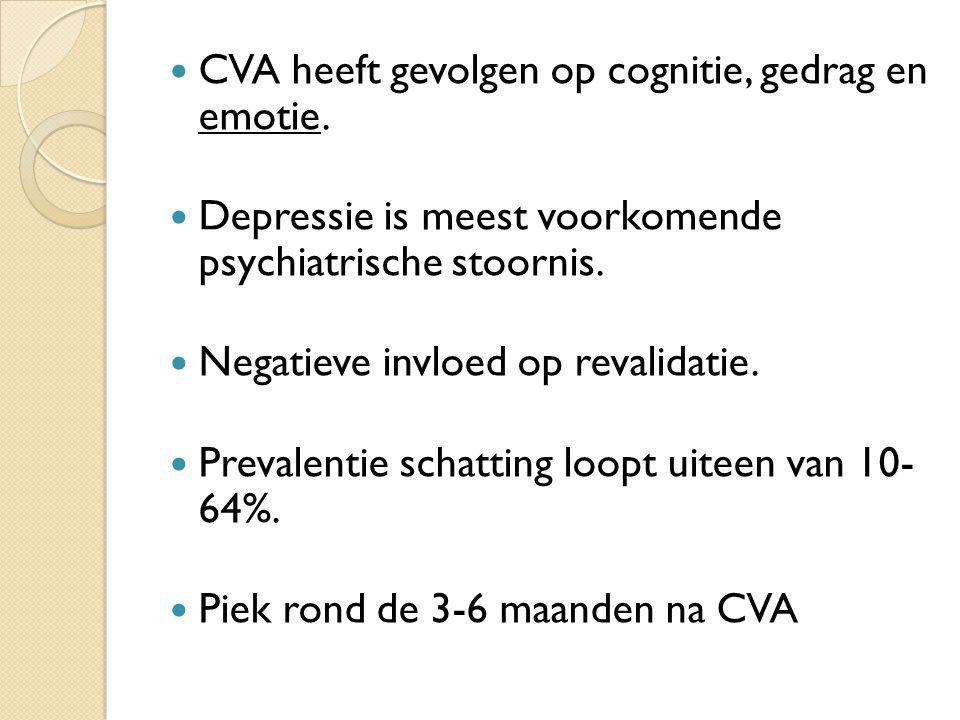 CVA heeft gevolgen op cognitie, gedrag en emotie.