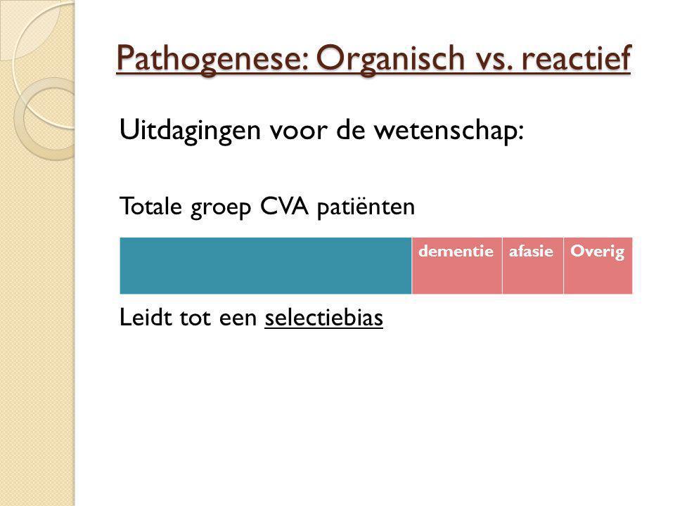 Pathogenese: Organisch vs. reactief