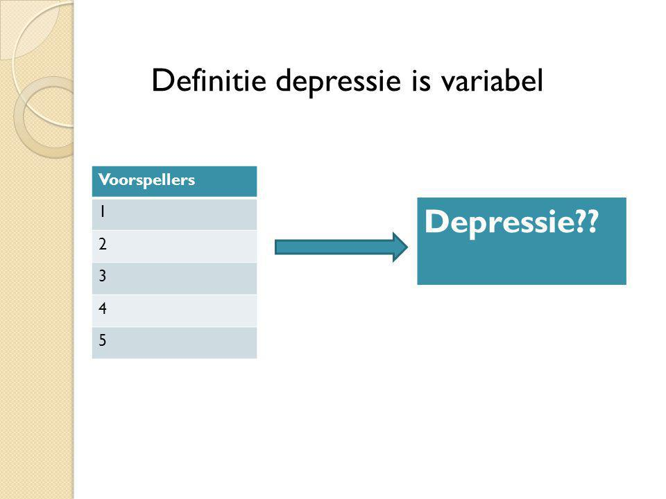 Definitie depressie is variabel Depressie