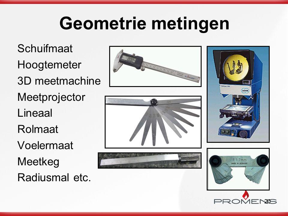 Geometrie metingen Schuifmaat Hoogtemeter 3D meetmachine Meetprojector