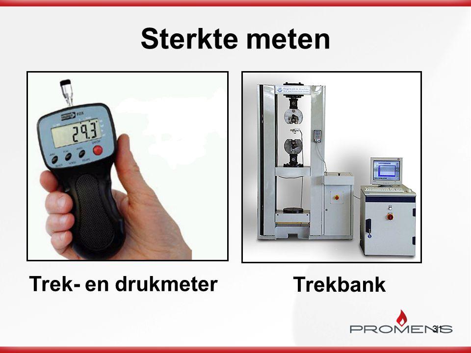 Sterkte meten Trek- en drukmeter Trekbank