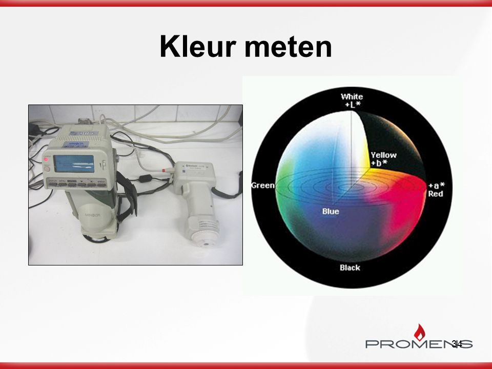 Kleur meten Kwaliteit in productie februari - maart 2009