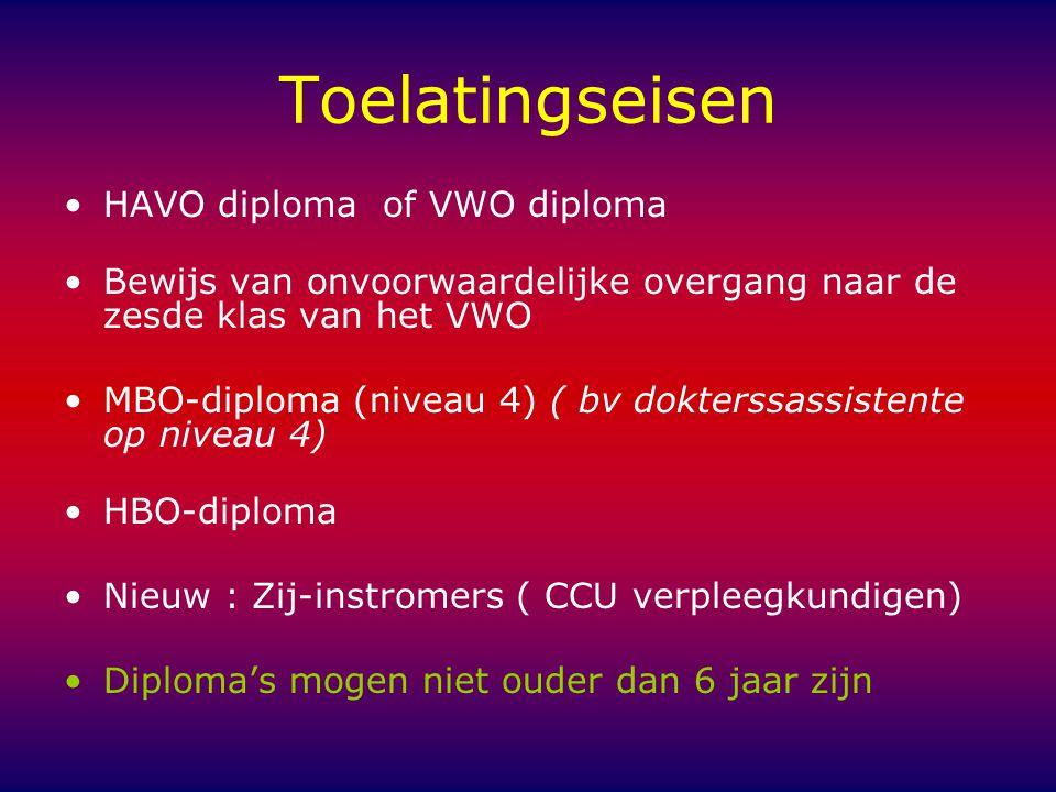 Toelatingseisen HAVO diploma of VWO diploma