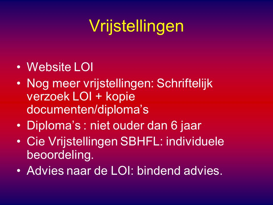 Vrijstellingen Website LOI