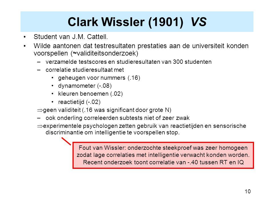 Clark Wissler (1901) VS Student van J.M. Cattell.