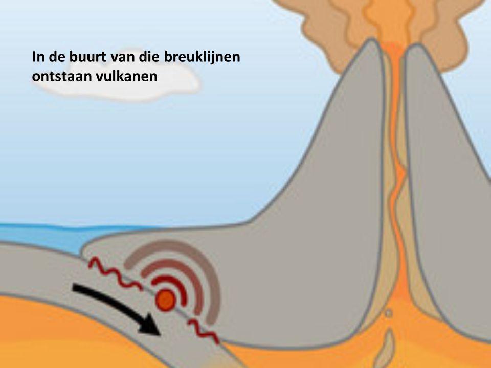 In de buurt van die breuklijnen ontstaan vulkanen