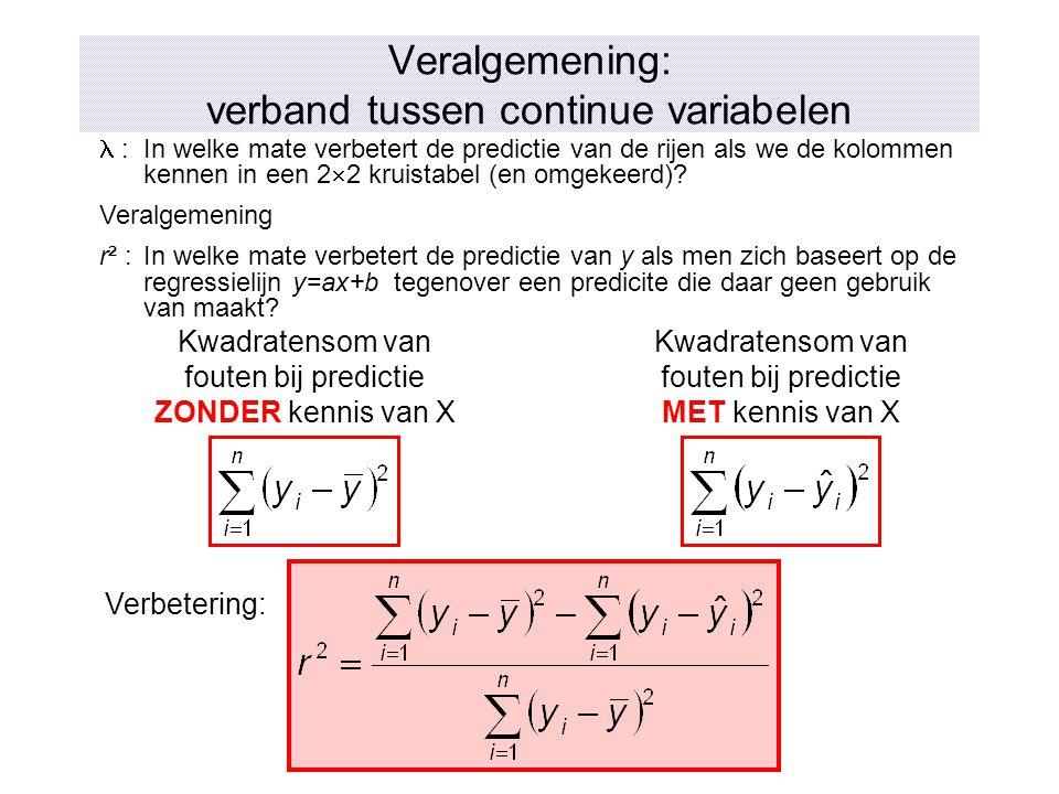 Veralgemening: verband tussen continue variabelen