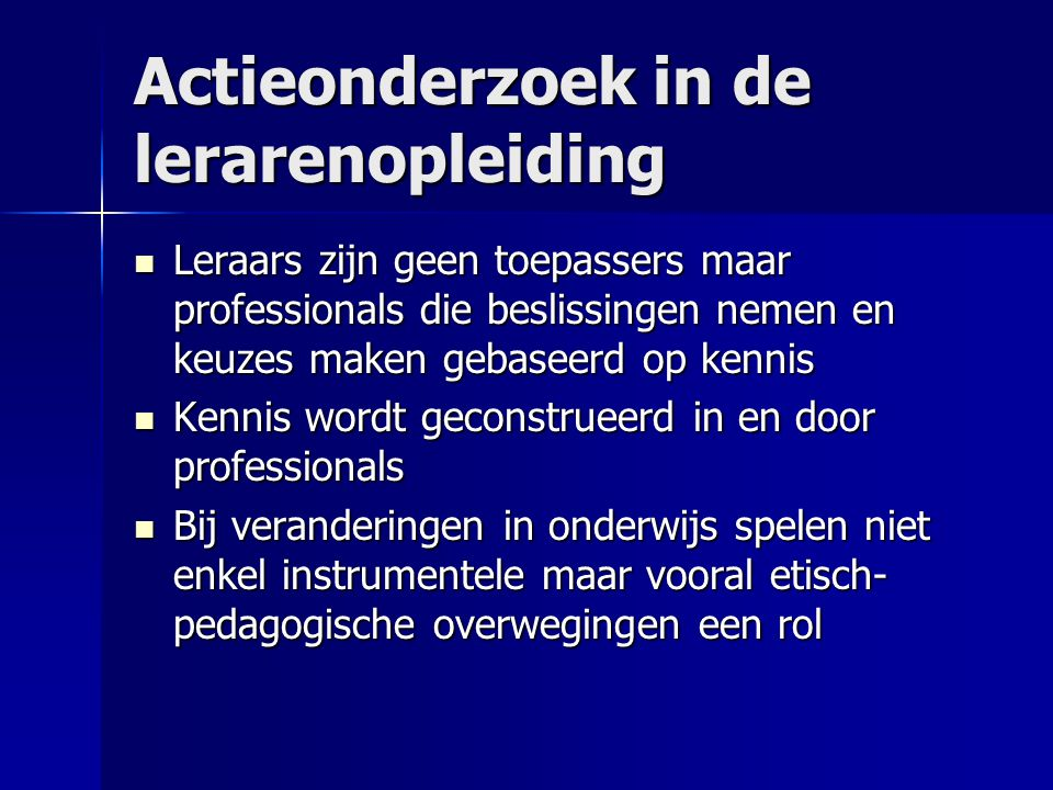 Actieonderzoek in de lerarenopleiding