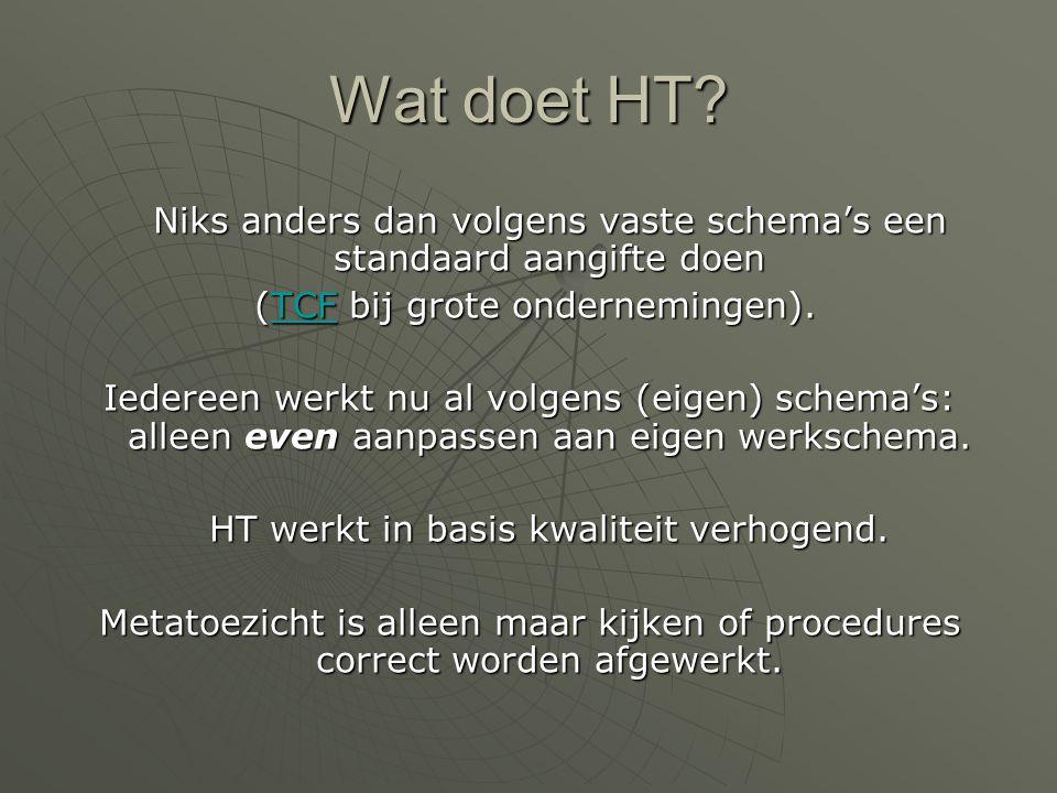 Wat doet HT Niks anders dan volgens vaste schema's een standaard aangifte doen. (TCF bij grote ondernemingen).