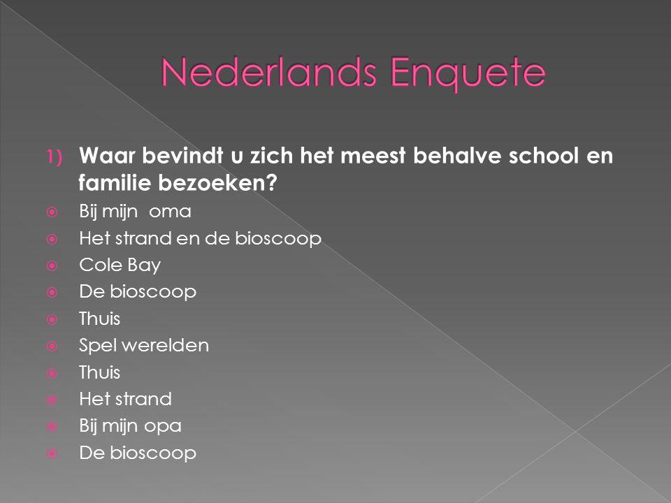 Nederlands Enquete Waar bevindt u zich het meest behalve school en familie bezoeken Bij mijn oma.