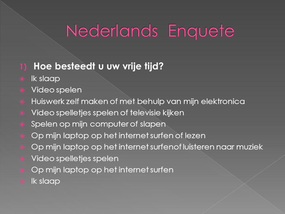 Nederlands Enquete Hoe besteedt u uw vrije tijd Ik slaap Video spelen