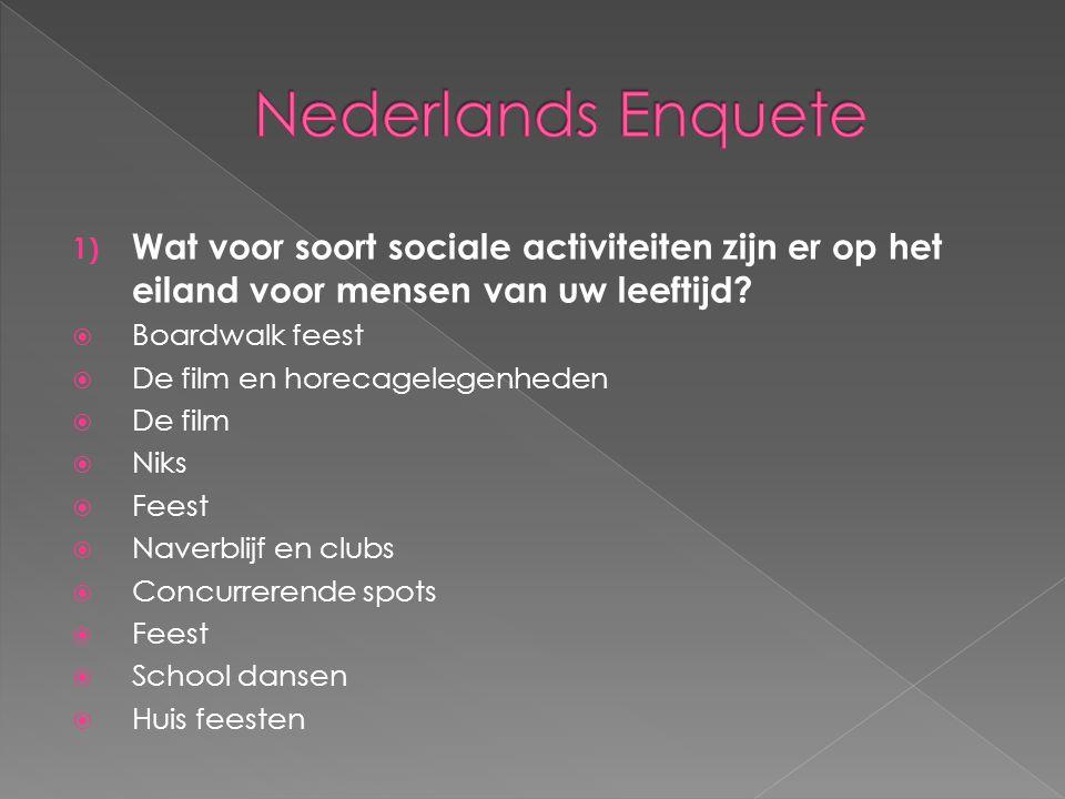 Nederlands Enquete Wat voor soort sociale activiteiten zijn er op het eiland voor mensen van uw leeftijd