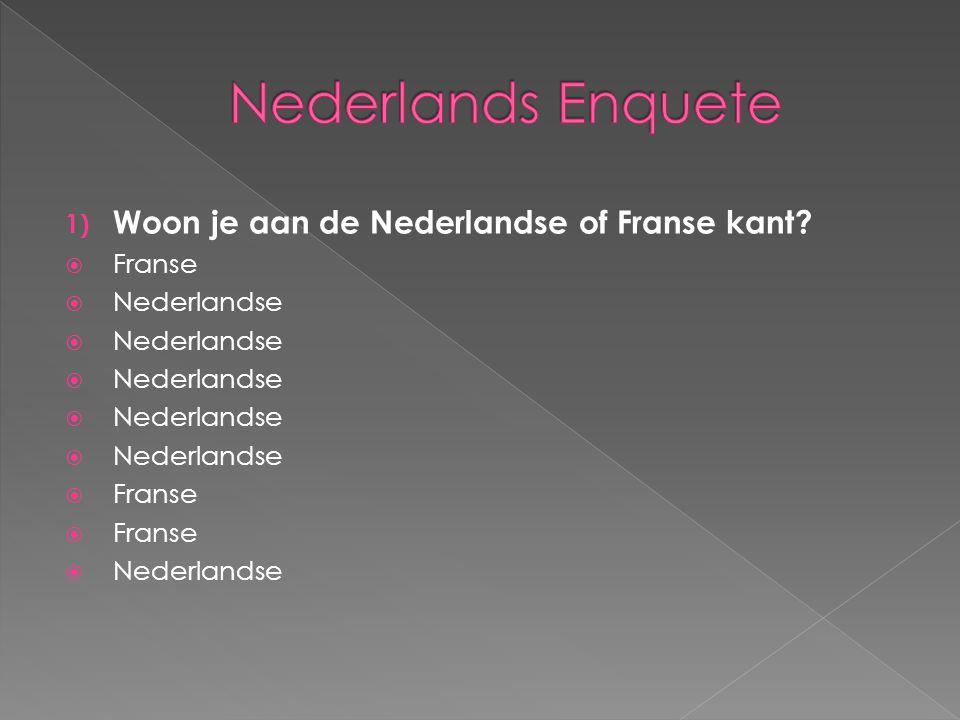 Nederlands Enquete Woon je aan de Nederlandse of Franse kant Franse