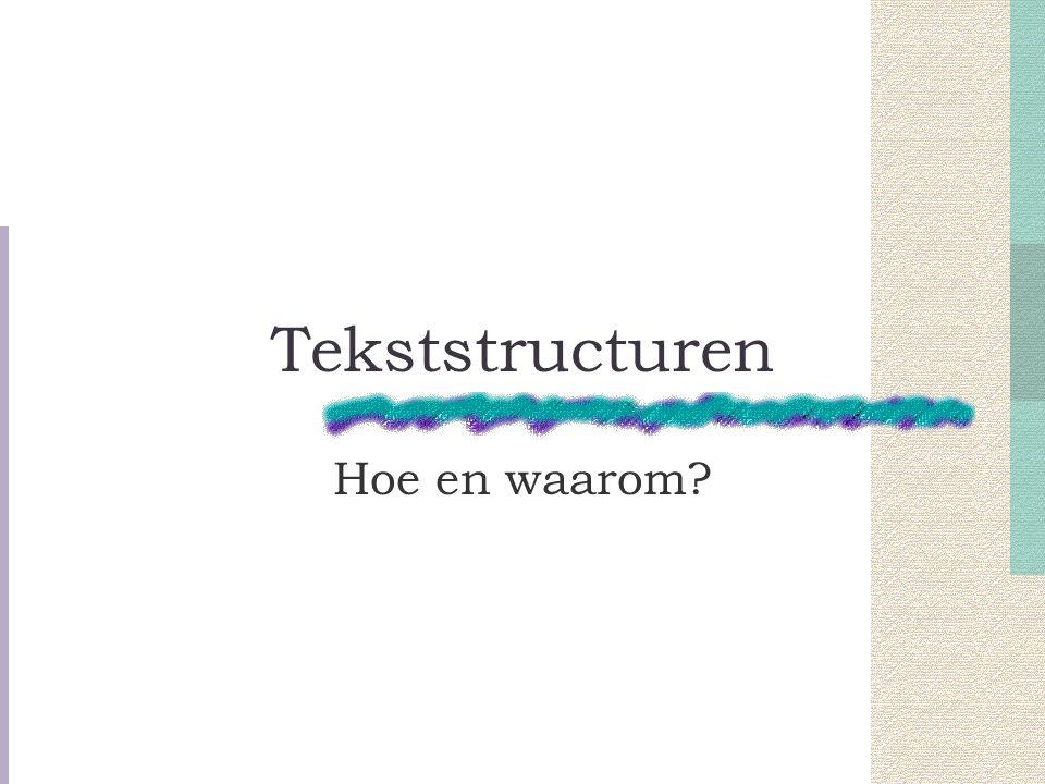 Tekststructuren Hoe en waarom
