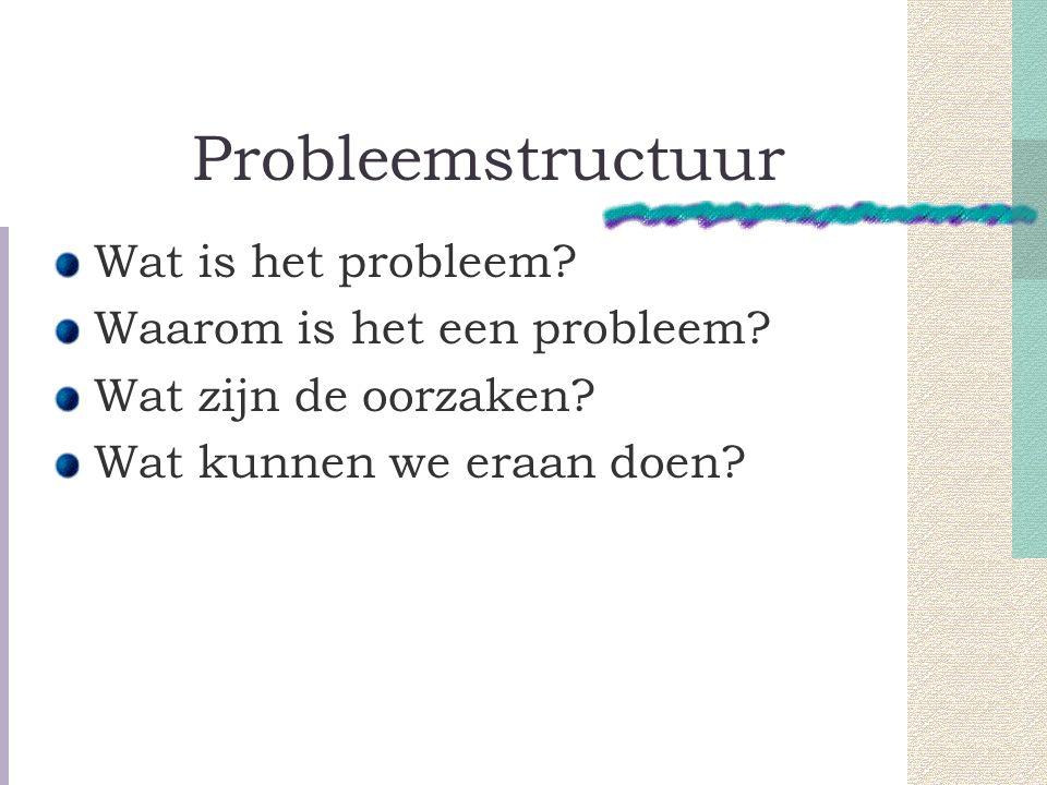 Probleemstructuur Wat is het probleem Waarom is het een probleem