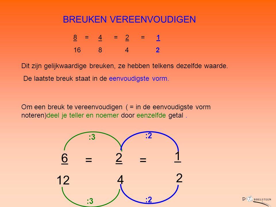 2 12 4 BREUKEN VEREENVOUDIGEN 1 6 2 = = :2 :3 :2 :3 8 = 4 = 2 = 1