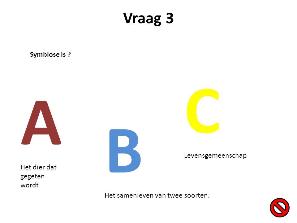 C A B Vraag 3 Symbiose is Levensgemeenschap