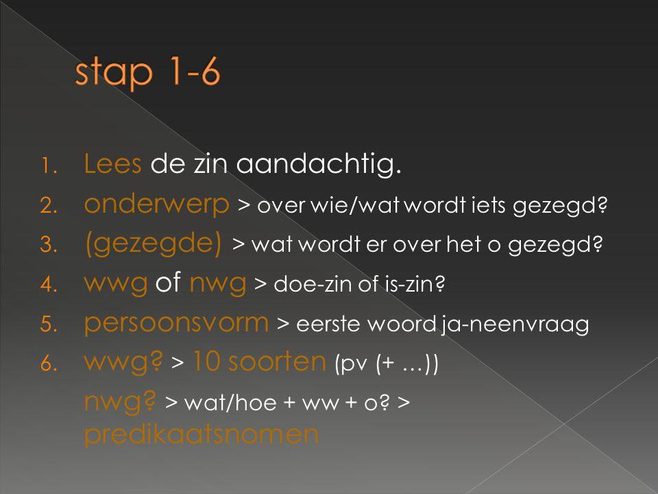 stap 1-6 Lees de zin aandachtig.