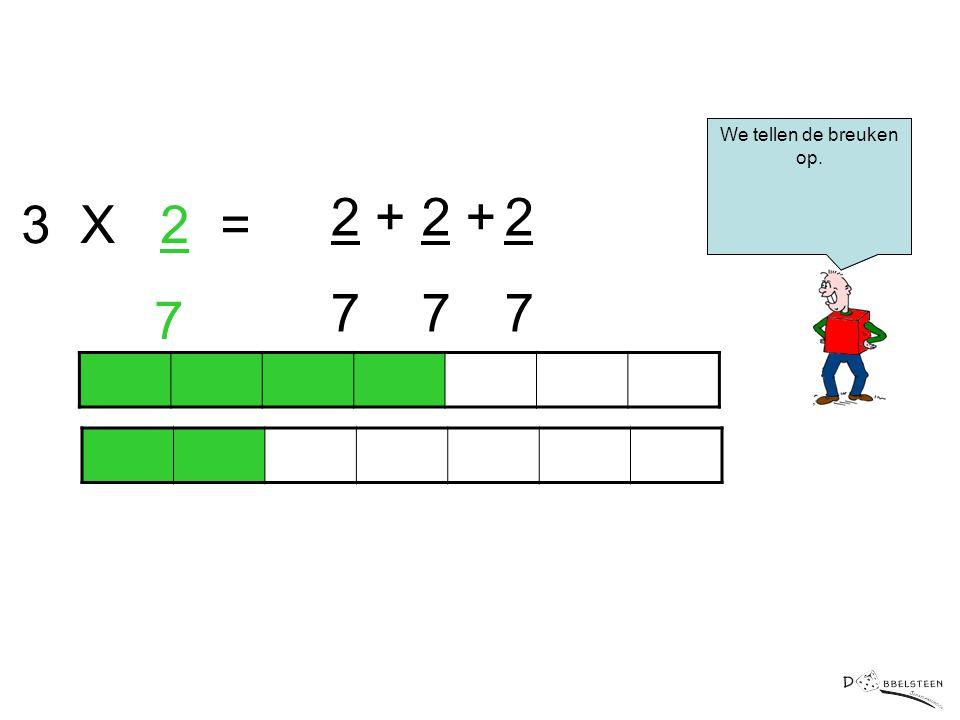 We tellen de breuken op. 2 + 7 2 + 7 2 7 3 X 2 = 7