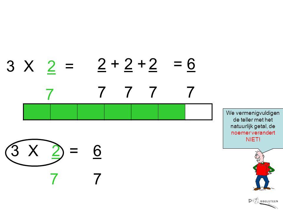 2 + 7 2 + 7 2 7 = 6 7 3 X 2 = 7 3 X 2 = 7 6 7 Korter geschreven