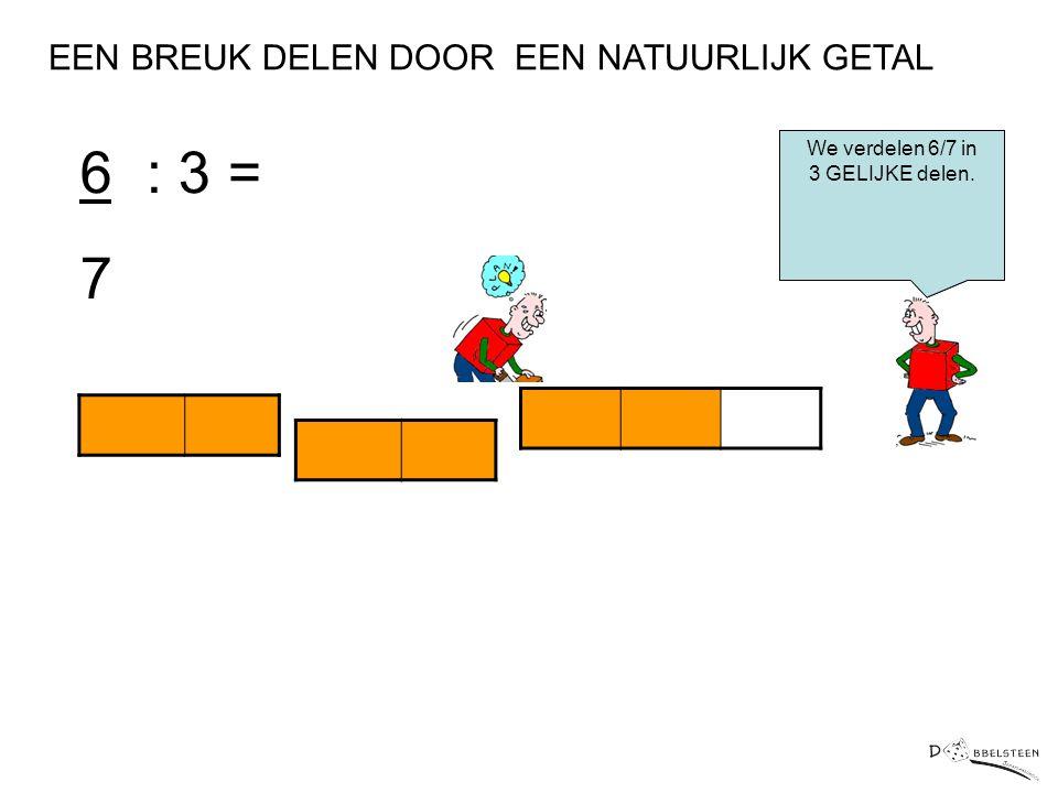 6 : 3 = 7 EEN BREUK DELEN DOOR EEN NATUURLIJK GETAL We verdelen 6/7 in