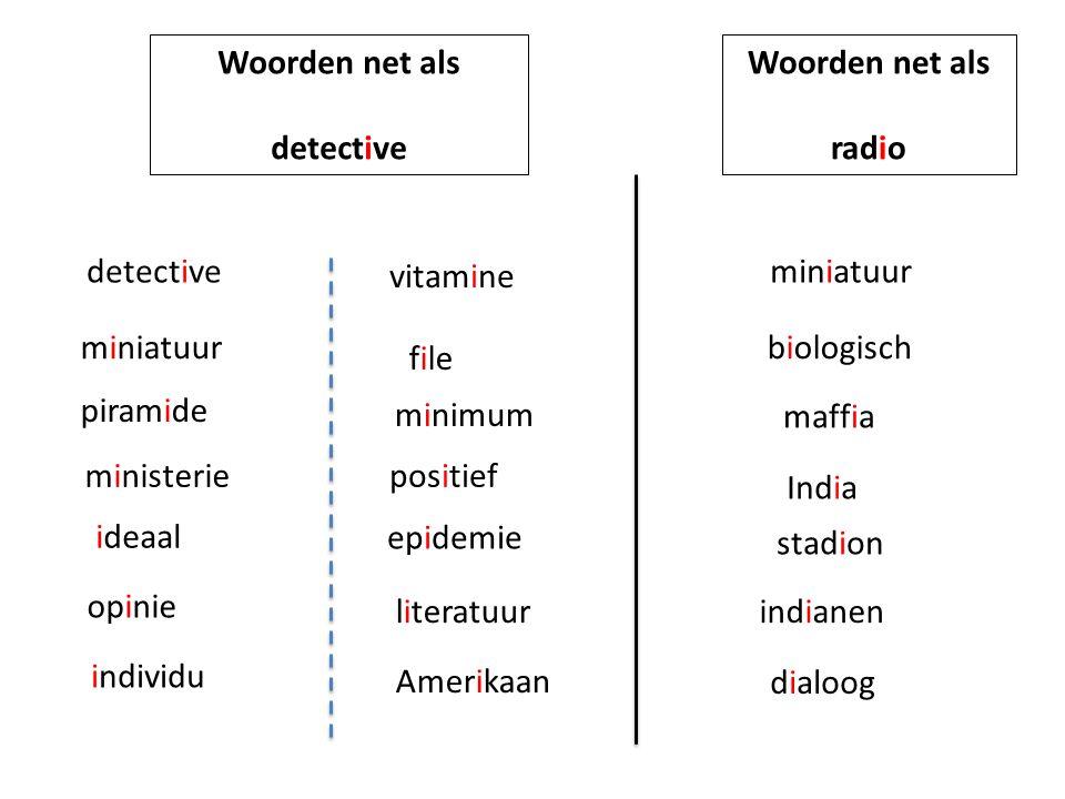 Woorden net als detective. Woorden net als. radio. detective. vitamine. miniatuur. miniatuur.