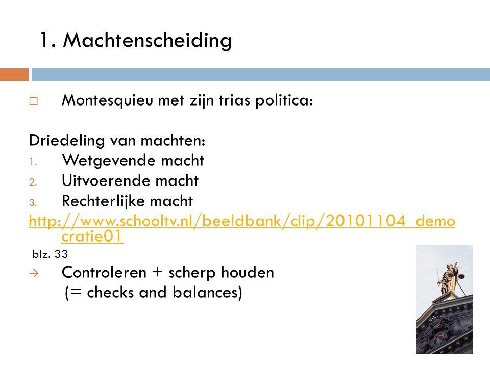 1. Machtenscheiding Montesquieu met zijn trias politica: