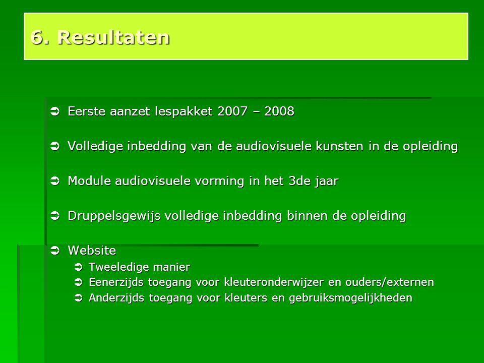 6. Resultaten Eerste aanzet lespakket 2007 – 2008