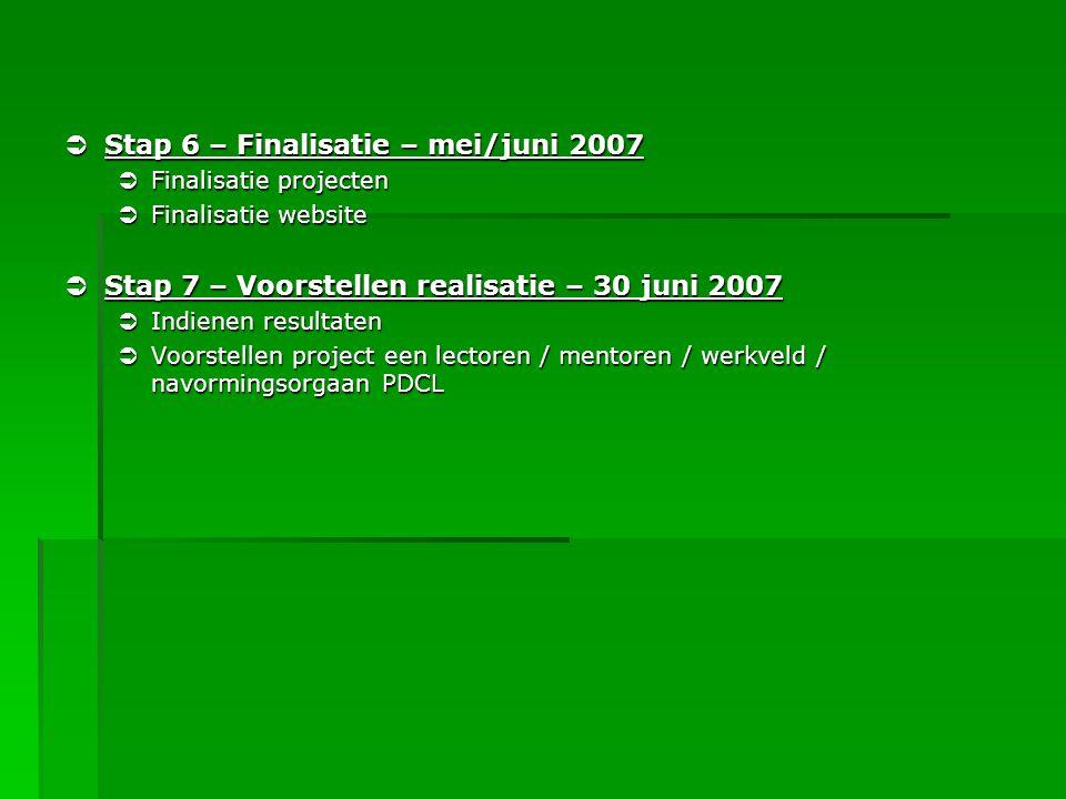 Stap 6 – Finalisatie – mei/juni 2007