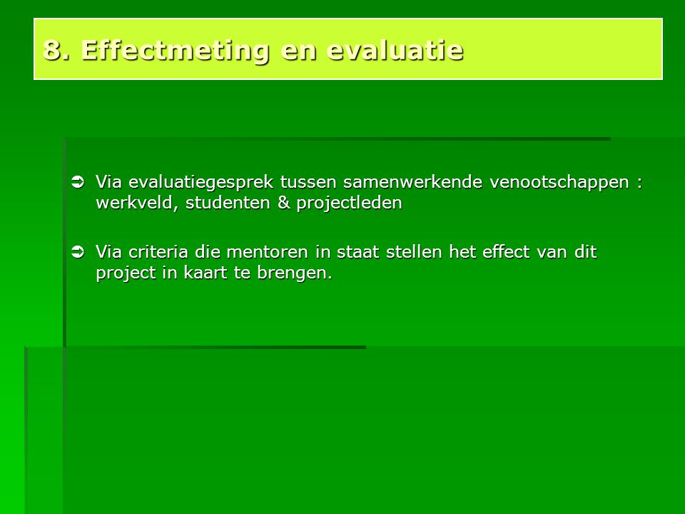 8. Effectmeting en evaluatie