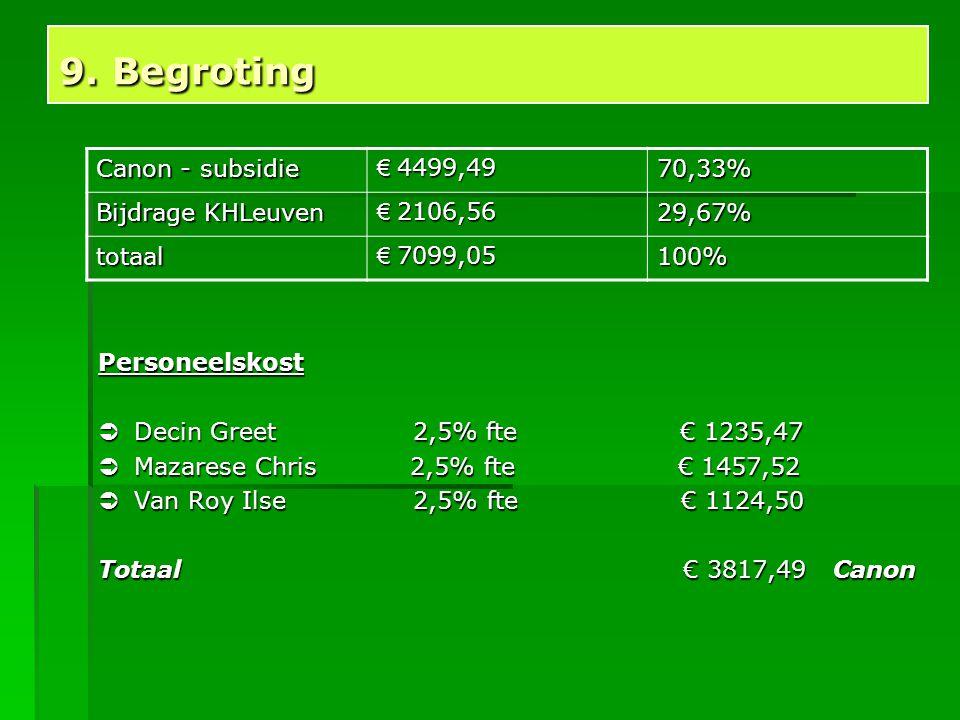 9. Begroting Canon - subsidie € 4499,49 70,33% Bijdrage KHLeuven