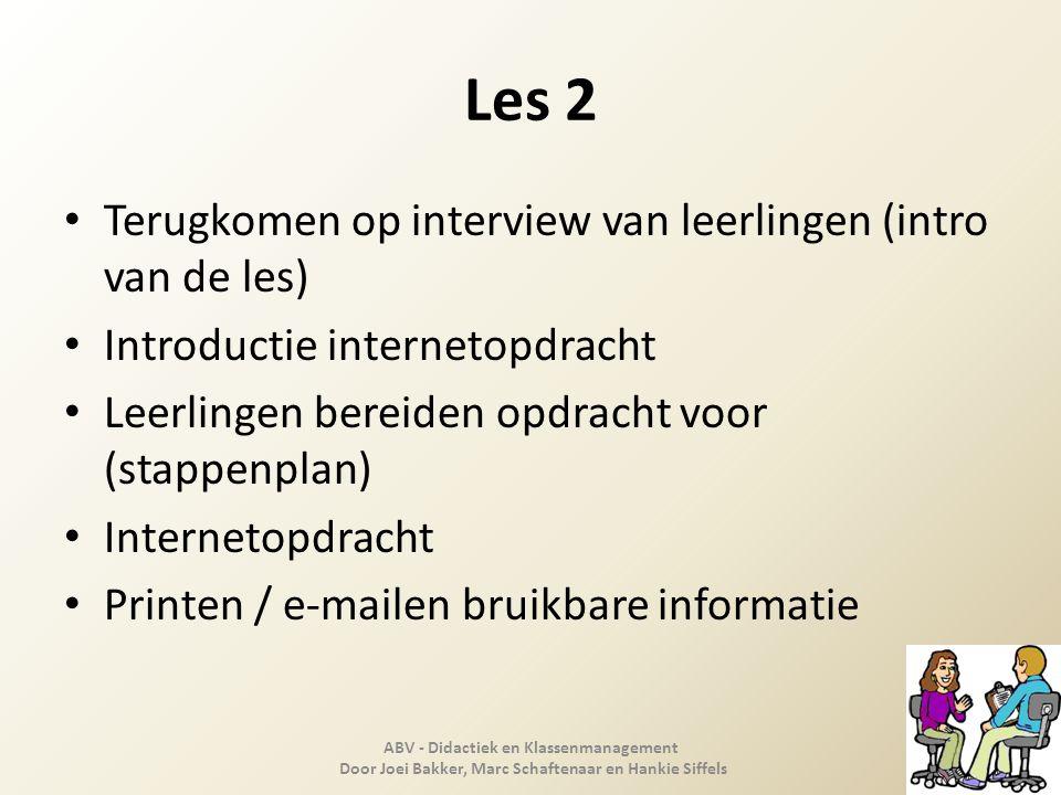 Les 2 Terugkomen op interview van leerlingen (intro van de les)