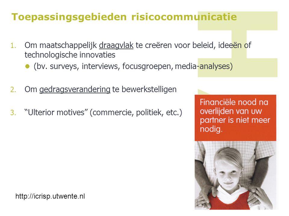 Toepassingsgebieden risicocommunicatie
