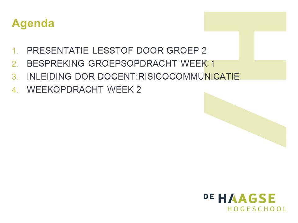 Agenda PRESENTATIE LESSTOF DOOR GROEP 2