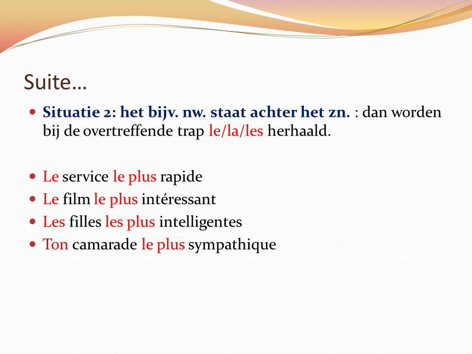 Suite… Situatie 2: het bijv. nw. staat achter het zn. : dan worden bij de overtreffende trap le/la/les herhaald.