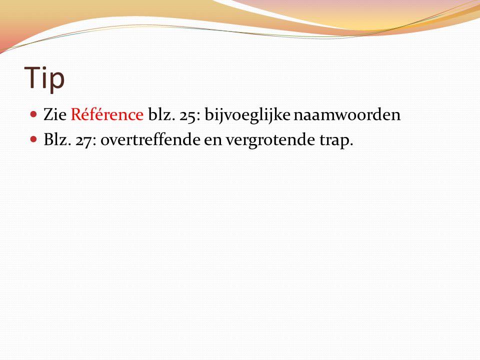 Tip Zie Référence blz. 25: bijvoeglijke naamwoorden