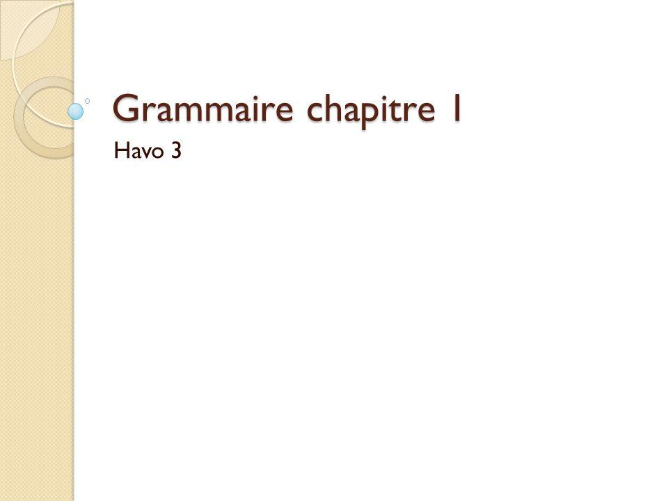 Grammaire chapitre 1 Havo 3