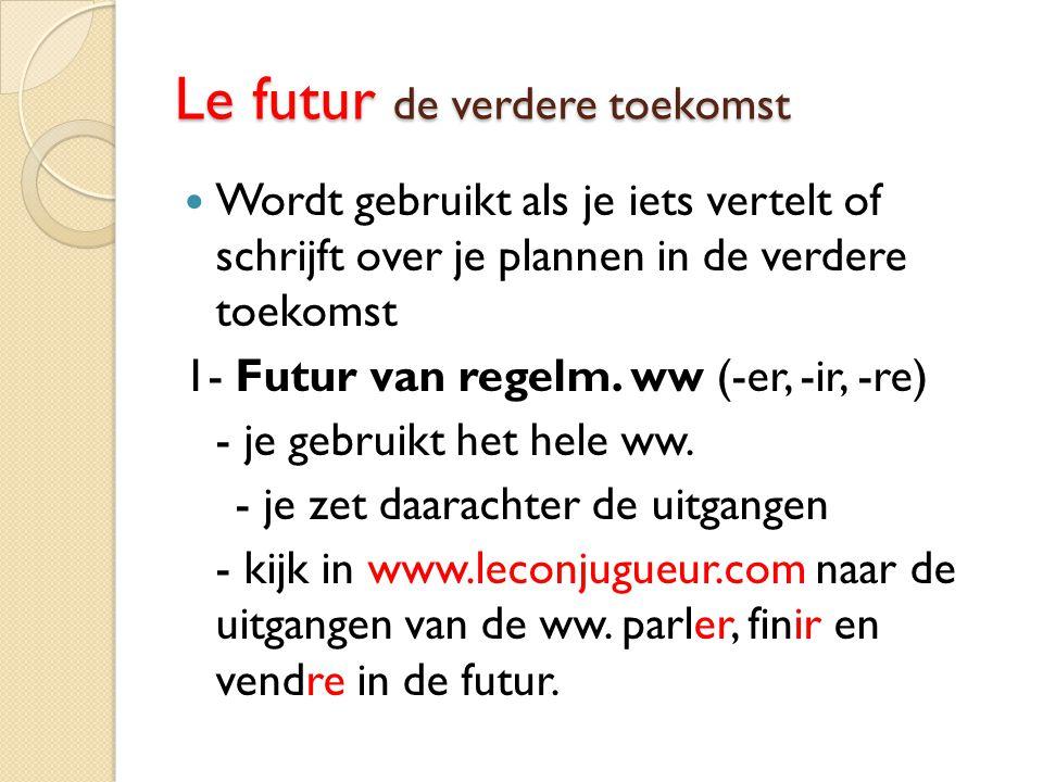 Le futur de verdere toekomst