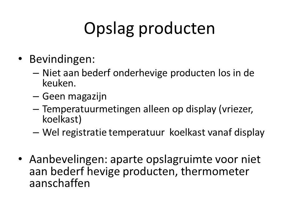 Opslag producten Bevindingen: