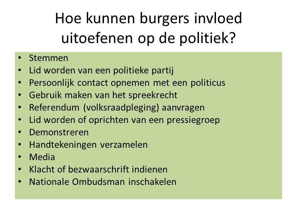 Hoe kunnen burgers invloed uitoefenen op de politiek