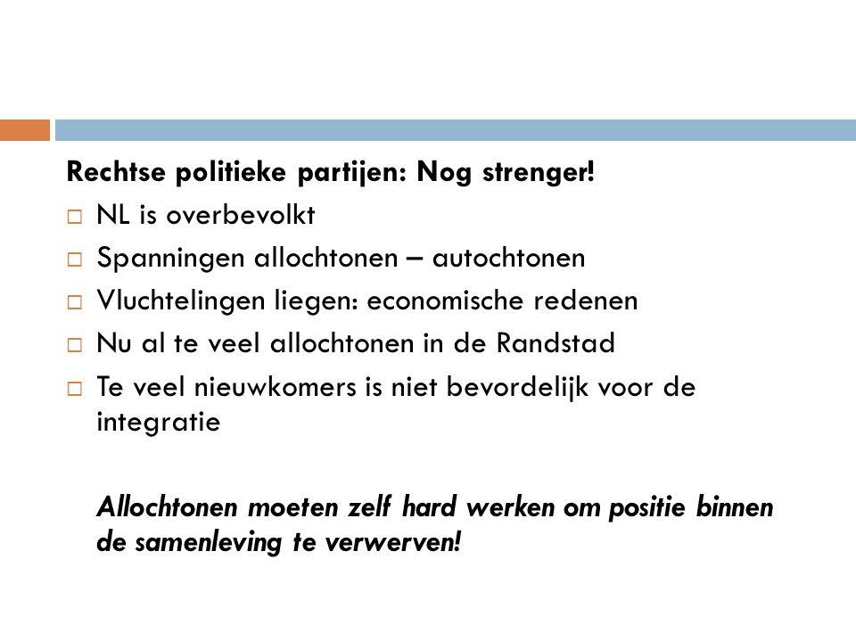 Rechtse politieke partijen: Nog strenger!