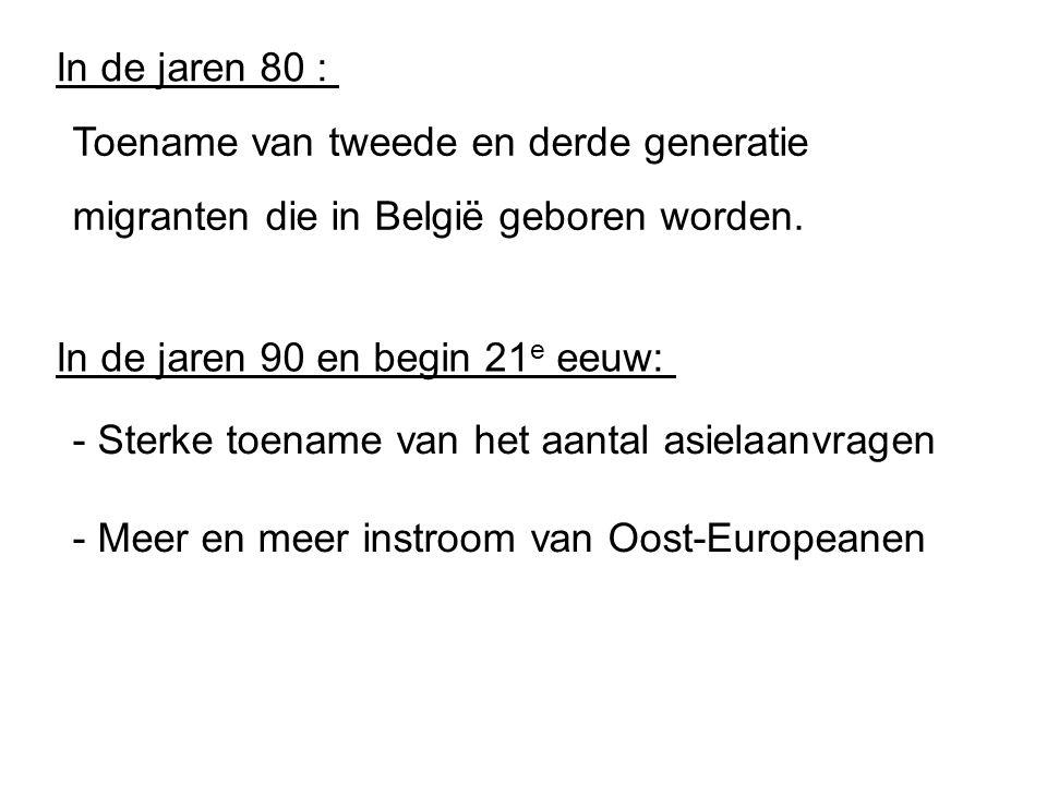 In de jaren 80 : Toename van tweede en derde generatie migranten die in België geboren worden. In de jaren 90 en begin 21e eeuw: