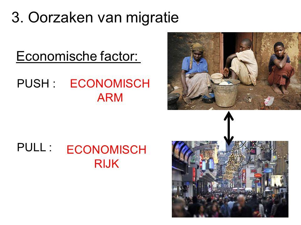 3. Oorzaken van migratie Economische factor: PUSH : ECONOMISCH ARM