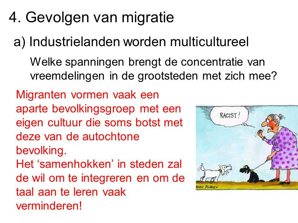 4. Gevolgen van migratie a) Industrielanden worden multicultureel
